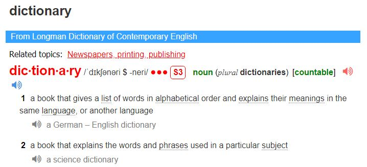 Screenshot of Longman Dictionary of Contemporary English - online English dictionaries