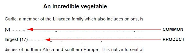Example of where the key word needs to go in Reading & Use of English Part 3