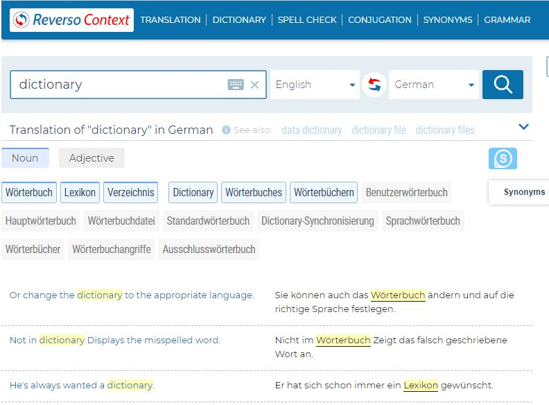 Screenshot of Reverso context - online English dictionaries