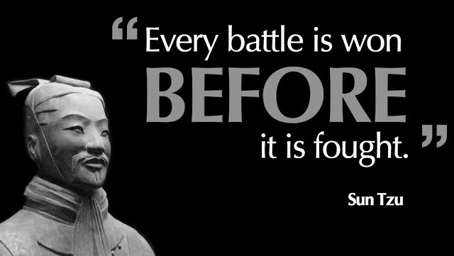 "Sun Tzu quote: ""Every battle is won before it is fought."""