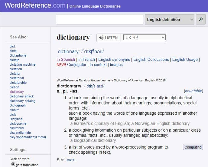 Screenshot of WordReference - online English dictionaries