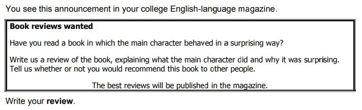 Example of a review task in Cambridge B2 First