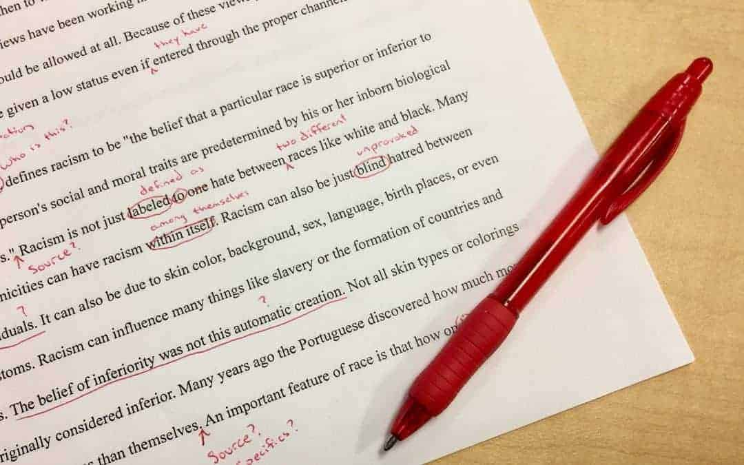 Image of a marked writing task
