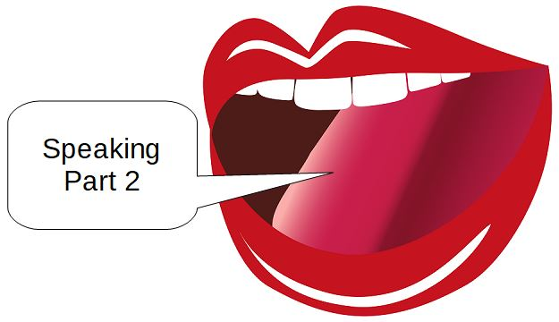 """Open mouth saying """"Speaking Part 2"""""""