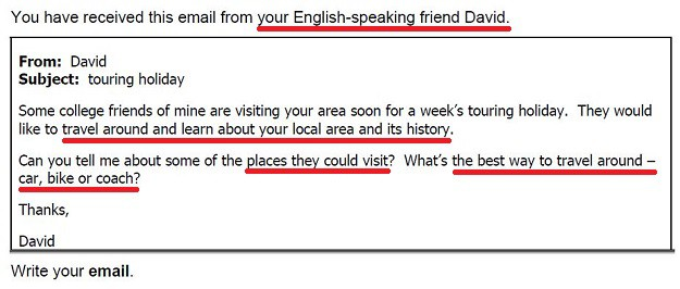 Example of an FCE email writing task with key information underlined