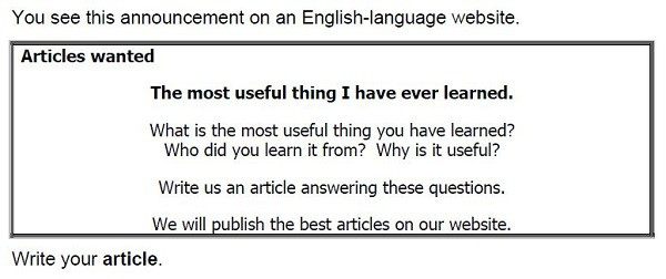 Example of an FCE article writing task
