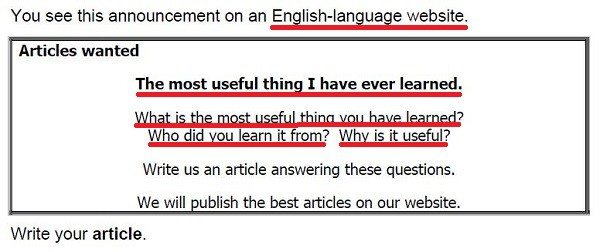 Example of an FCE article writing task with the key information underlined