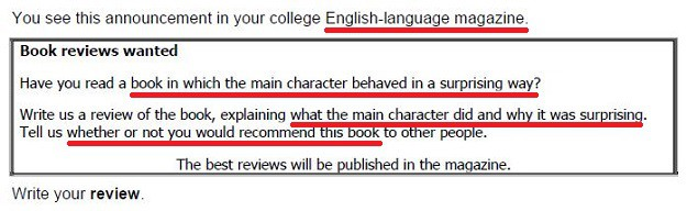 Typical example of an FCE review writing task with the key information underlined