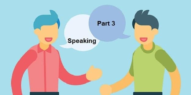Cartoon of two men saying Speaking Part 3