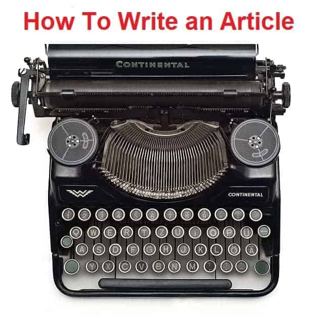 Typewriter with title: How to Write an Article - FCE