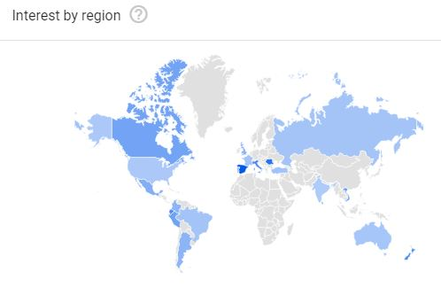 Google Trends map of interest by region in the world for PET.