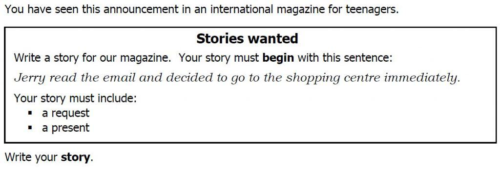 B2 First for Schools - Story Example Task